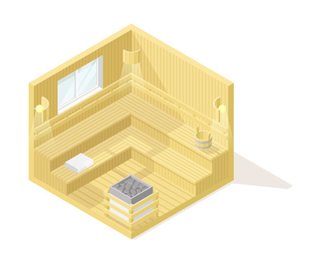Vector isometric low poly cutaway interior illustartion. Wooden sauna room with sauna accessories Illustration