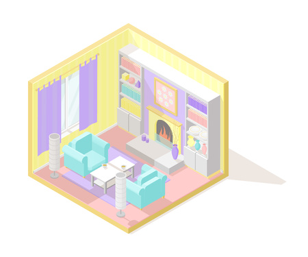 Vector isometric low poly cutaway interior illustration.