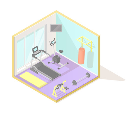 Isometric low poly cutaway interior vector illustration. Home fitness or gym room with treadmill, exercise bike, punching bag, dumbbells and mat, healthy lifestyle.