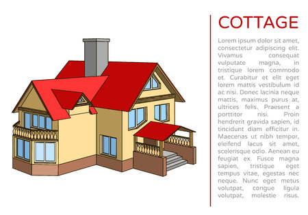 Poster with 3d two-storied cottage this red roof and a place for text. Architectural construction in cartoon style