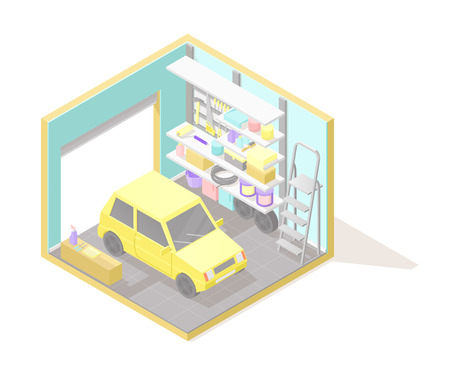 Vector isometric low poly cutaway interior illustartion. Garage this yellow car, ladder, shelves and tools. Automobile service Stock Photo