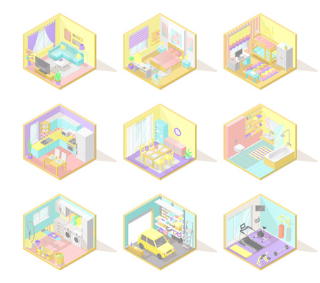 Vector big set of isometric home interiors: living room, bed room, kids room, kitchen, bath, garage and other in pastel colors