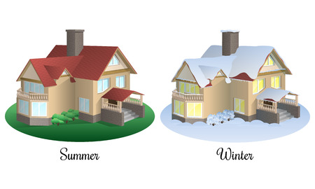 Set of two houses in summer and winter time. 3d realistic cottage icon. Architectural building in different seasons