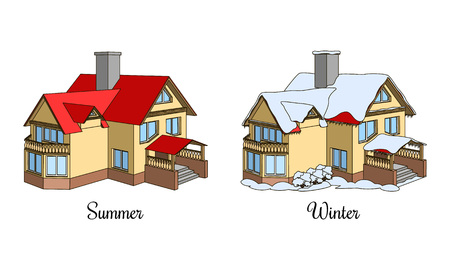 Set of two houses in summer and winter time. Cartoon cottage icon. Architectural building in different seasons Stock Illustratie