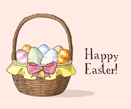 Set of hand drawn orthodox easter gift cards cards with orthodox hand drawn easter gift card with easter basket with eggs greate holiday vector negle Gallery