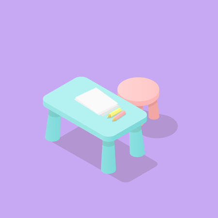 Low poly isometric children table with paper and pencils and children chair. Realistic icon. Isolated illustration of kids room furniture Vectores