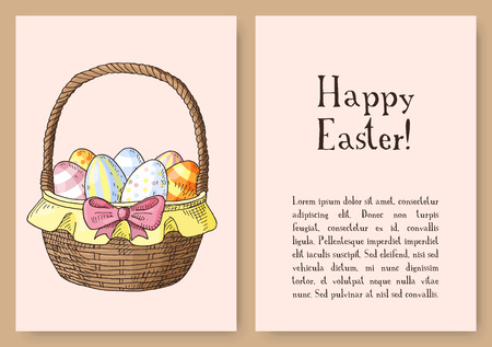 Set of hand drawn orthodox easter gift cards cards with orthodox hand drawn easter gift card with easter basket with eggs vector illustration negle Choice Image