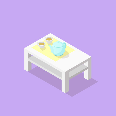 Low poly isometric coffee table with teapot and cups. Realistic icon. Isolated illustration of living room furniture. Vettoriali