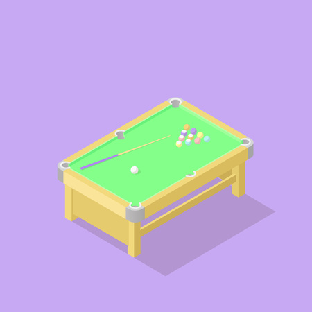 Low poly isometric pool or billiard table. Realistic icon