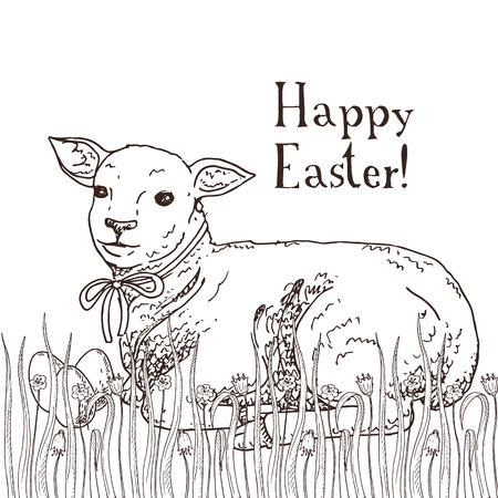Hand drawn black and white easter gift card with funny lamb and painted eggs in the grass. Greate holiday doodle vintage illustration Illustration