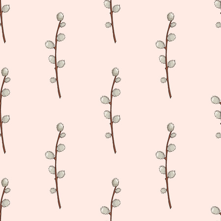 A Seamless Pattern With Hand Drawn Willow Branches In The Vase