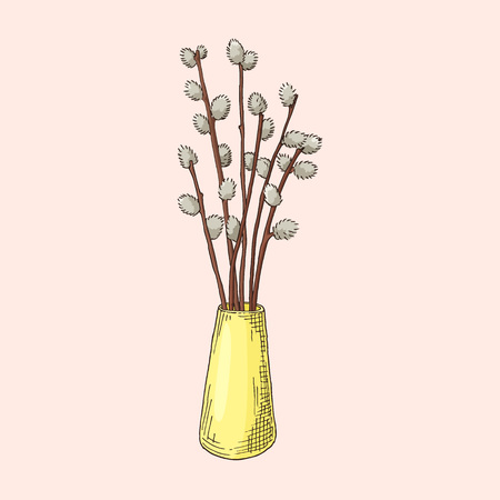 Hand Drawn Willow Branches In The Vase Spring And Easter Symbol