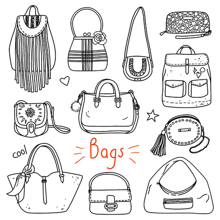 Set of hand drawn women accessories. Bags. Fashion collection. Black and white doodle illustration. Vettoriali