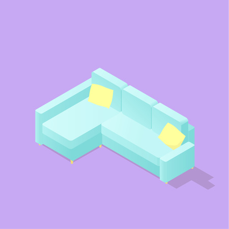 Low poly isometric sofa. Realistic icon. Isolated illustration of living room furniture Ilustração
