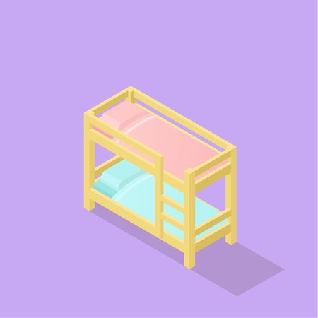 Low poly isometric kids bed realistic icon.