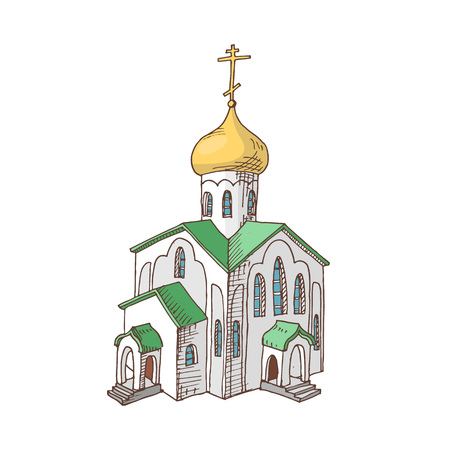 Hand drawn Russian orthodox church. Cult architecture. Religious object