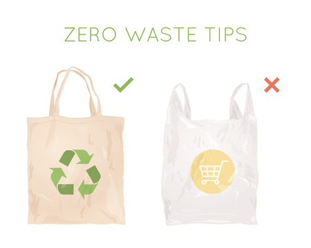 Reusable cloth bag instead of plastic bag. Shopping bags. Zero waste tips. Eco lifestile Иллюстрация