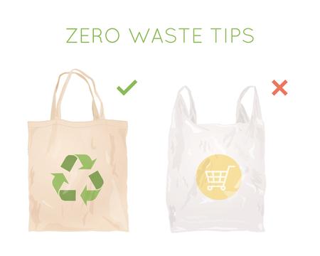 Wiederverwendbare Stofftasche statt Plastiktüte. Einkaufstüten. Null Abfall Tipps. Öko-Lebensstil Vektorgrafik