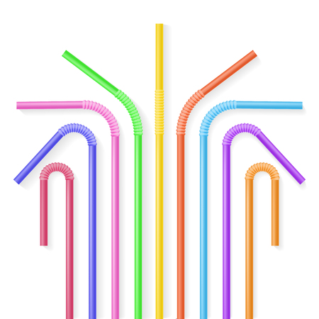 Colorful plastic drinking straws. Realisic vector illustration. Summer drinks