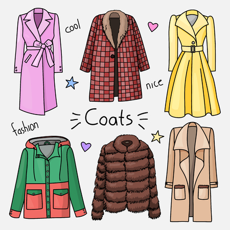 Set of hand drawn women clothes. Coats. Fashion collection. Colored doodle illustration. 向量圖像