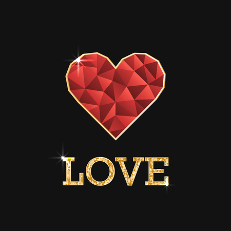 Illustration with polygonal red heart and golden inscription love. Valentines day or wadding day 向量圖像