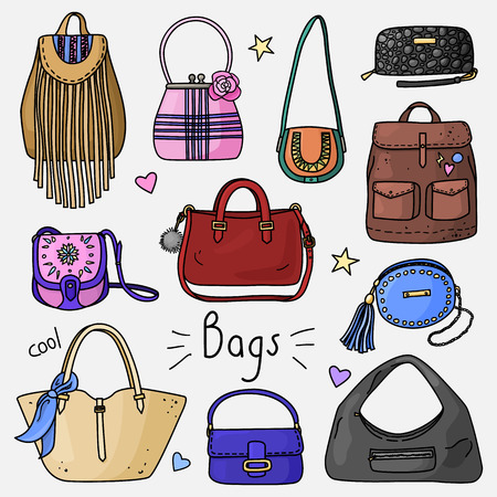 Set of hand drawn women accessories. Bags. Fashion collection. Colored doodle illustration.