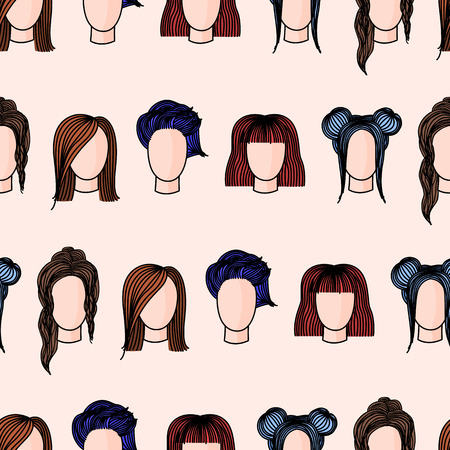Seamless pattern with hand drawn womens hairstyles. Colored doodle illustration. Иллюстрация