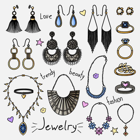 Set of hand drawn women accessories. Jewelry - earrings, rings, necklaces. Fashion collection. Colored doodle illustration.