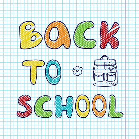 Banner with hand drawn colorful inscription back to school and doodle backpack on paper background
