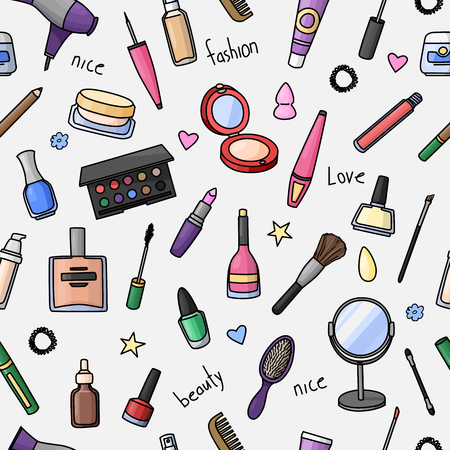 Seamless pattern with hand drawn women accessories. Cosmetics. Colored doodle illustration. 向量圖像
