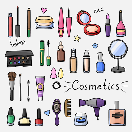 Set of hand drawn women accessories. Cosmetics. Colored doodle illustration.