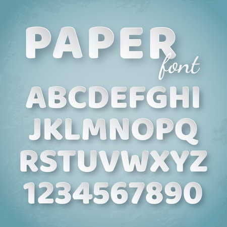 Paper alphabet. White letters and numbers on blue background. Creative funny font for design template