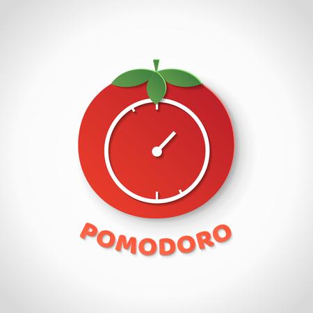 Pomodoro technique. Paper art realistic vector illustration with pomodoro clock. Time management.