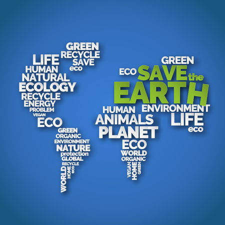 Save the Earth. Paper art typography poster with words in shape of world map. Ecology and environment. White and green letters on blue background. Earth day 向量圖像
