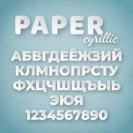 Cyrillic paper alphabet. White letters and numbers on blue background. Creative funny font for design template 向量圖像