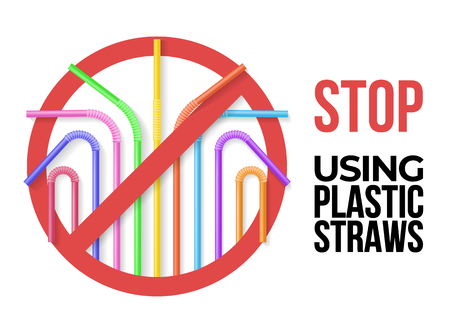 Poster with colorful plastic drinking straws. Stop using plastic straws. Realisic vector illustration. Eco zero waste lifestyle
