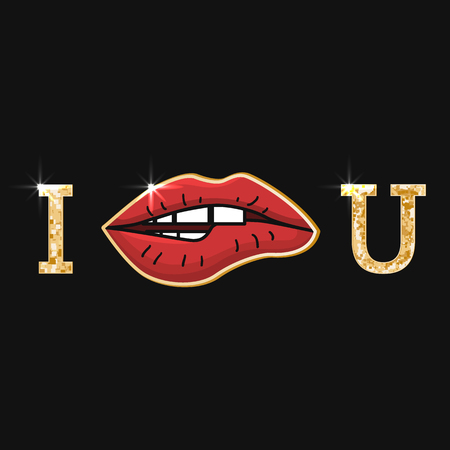 Illustration with red womens lips and golden inscription i love u. Valentines day or wadding day