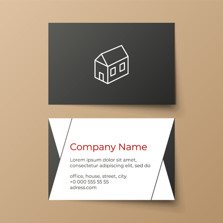 Business card vector template. Building or architectural company. White, black and red colors. House illustration. Minimalistic business style 向量圖像