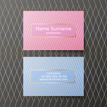 Business card vector template. Pink and blue coloros with golden elements. Feminine and tender minimalistic style 向量圖像