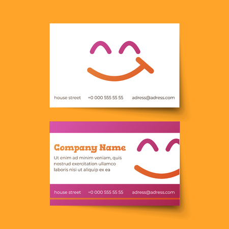 Business card vector template. Funny illustration with colorful smiley. Pink and orange colors 向量圖像