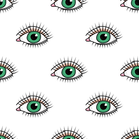Vector seamless pattern with doodle green eye
