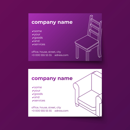 Business card vector template with furniture isometric line art illustrations