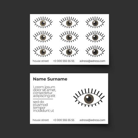 Business card vector template. Make up artist or other beauty profession or business. Pattern with eyes 向量圖像