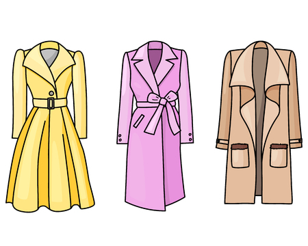 Set of hand drawn women clothes. Spring and autumn coats. Fashion collection. Colored doodle illustration.