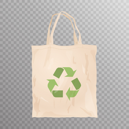 Reusable cloth bag with recycle emblem on transparent background. Shopping bag. Zero waste tips. Eco lifestile