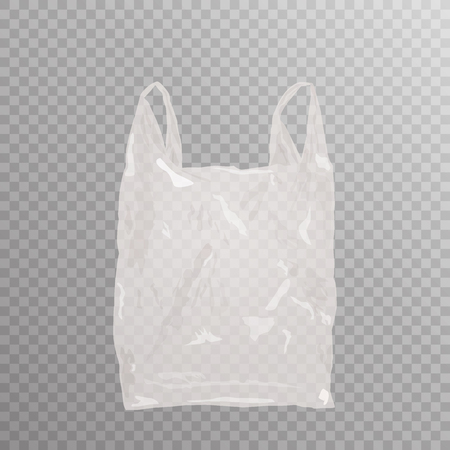 Vector realistic plastic bag on transparent bakground. Empty white shopping bag