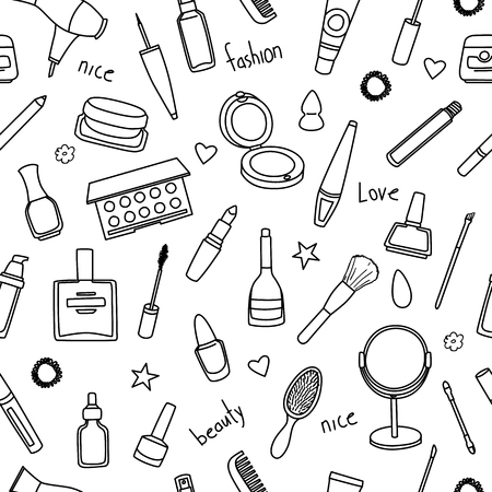 Seamless pattern with hand drawn women accessories. Cosmetics. Black and white doodle illustration.