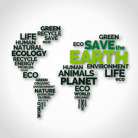 Save the Earth. Typography poster with words in shape of world map. Ecology and environment. Black and green letters on white background. Earth day 版權商用圖片