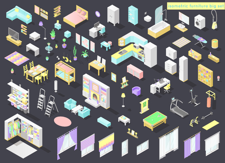 Vector big set of low poly isometric furniture and decoration for home interiors - living room, bedroom, kids room, bath, kithen, laundry and other in pastel colors