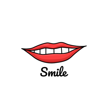 Doodle illustration with lips and inscription smile. White teeth and red lips